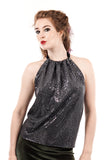 cygnet sequin high-neck halter