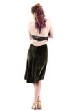 luminous olive velvet fluted skirt