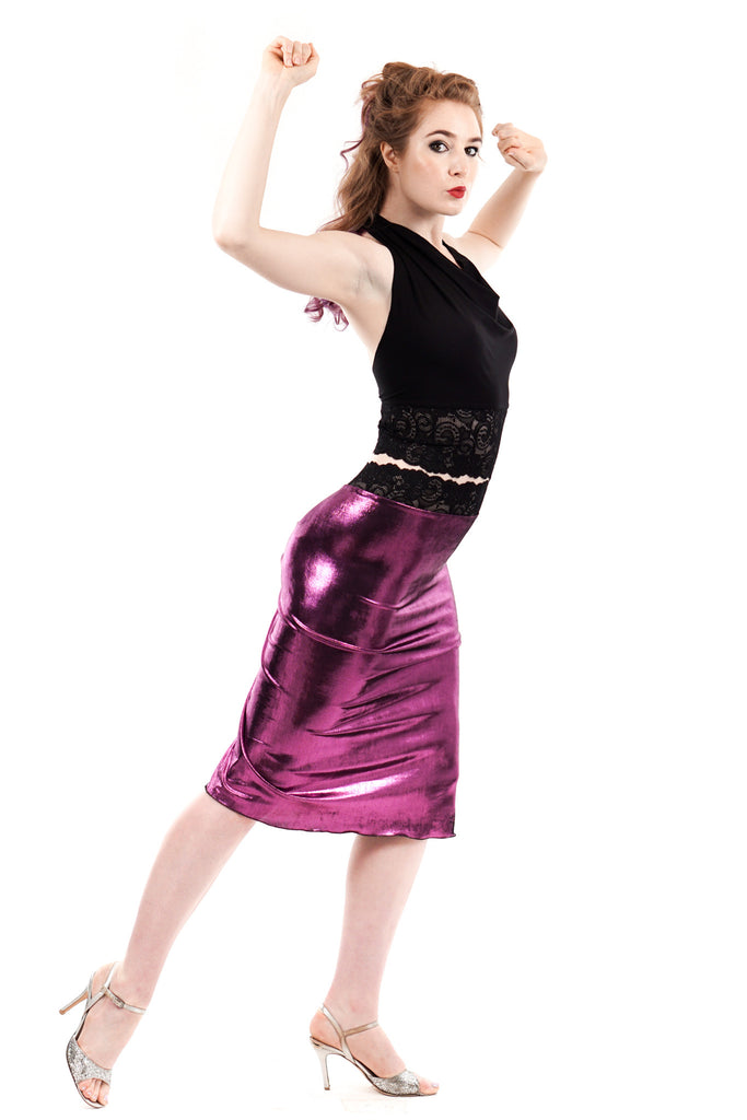 orchid foil ruched skirt