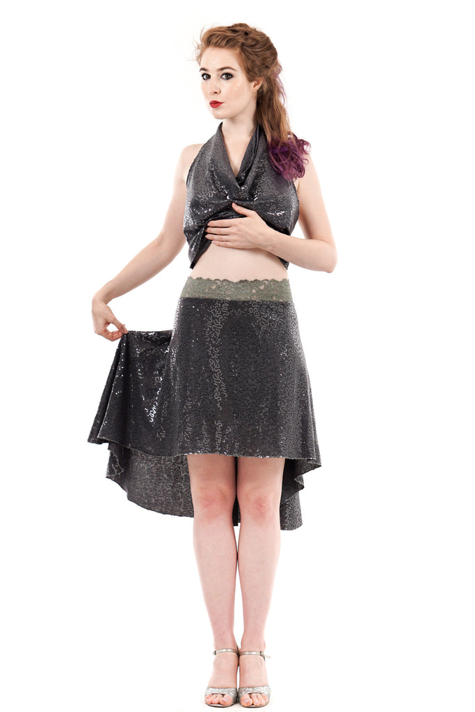 the signature skirt in cygnet sequin