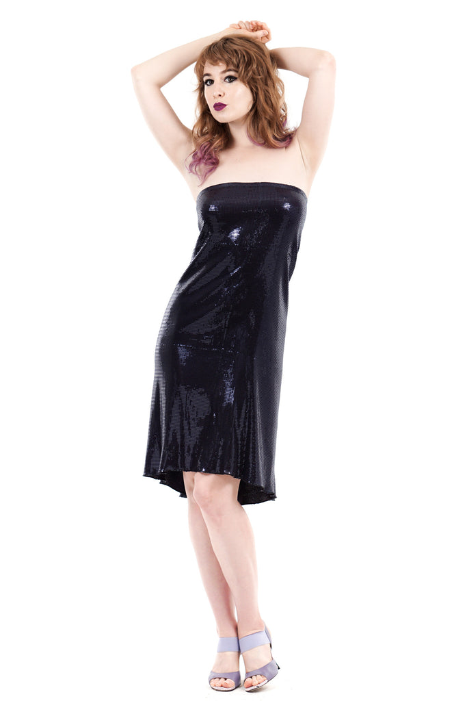 black swan sequin strapless dress