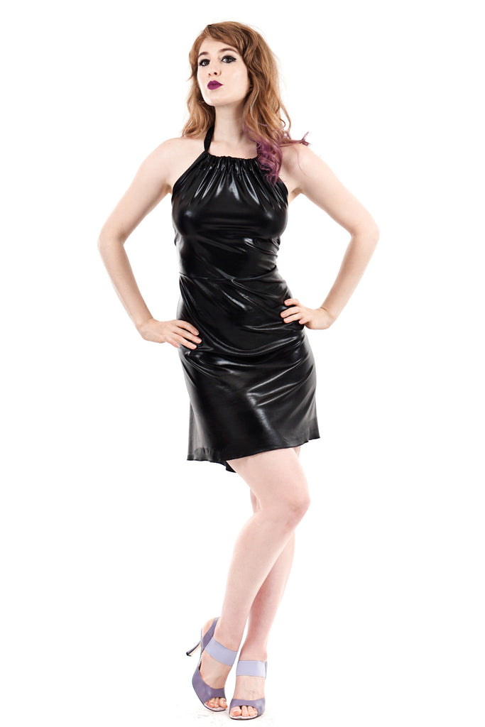 black seal halter dress