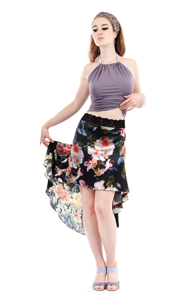 the signature skirt in orchid and embroidery
