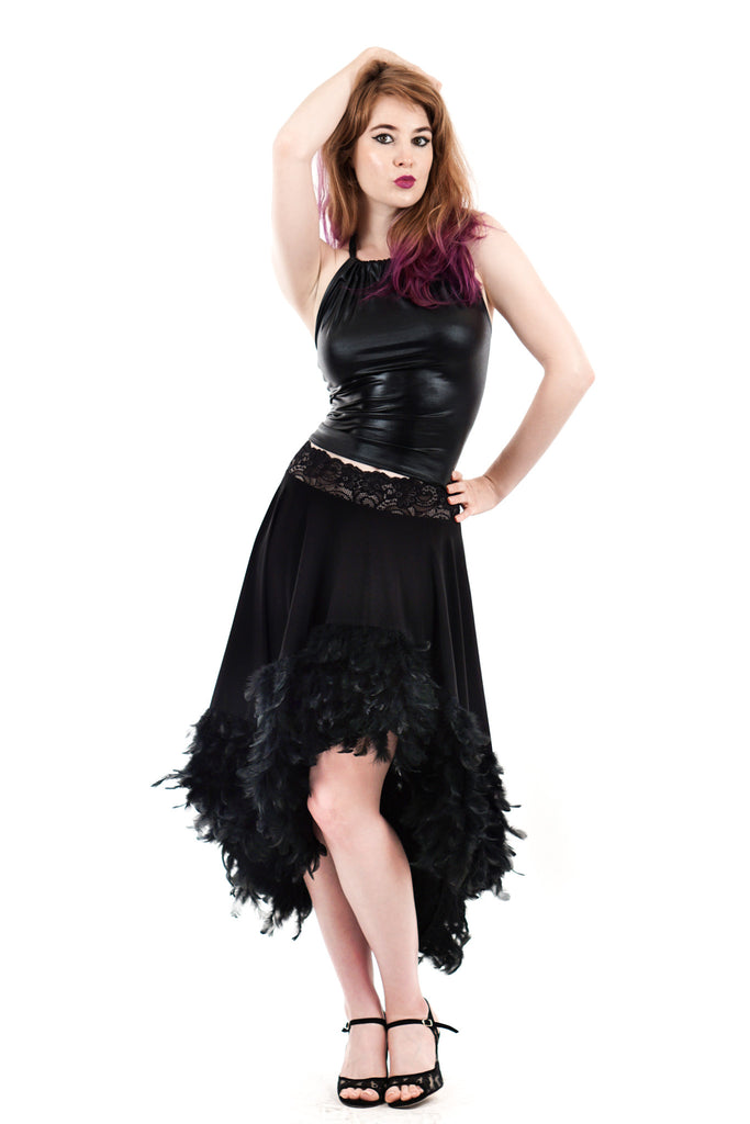 black swan feather skirt