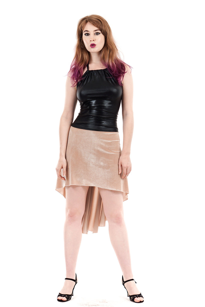the signature skirt in gold velvet