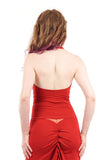 strawberry bamboo draped halter