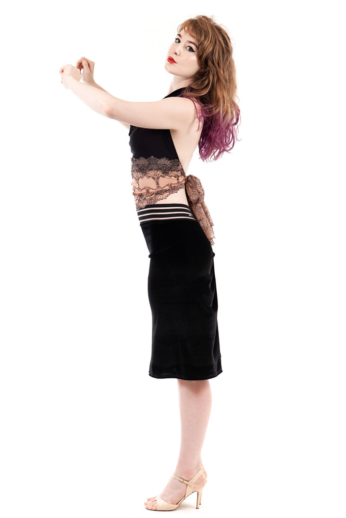velvet seal ruched skirt