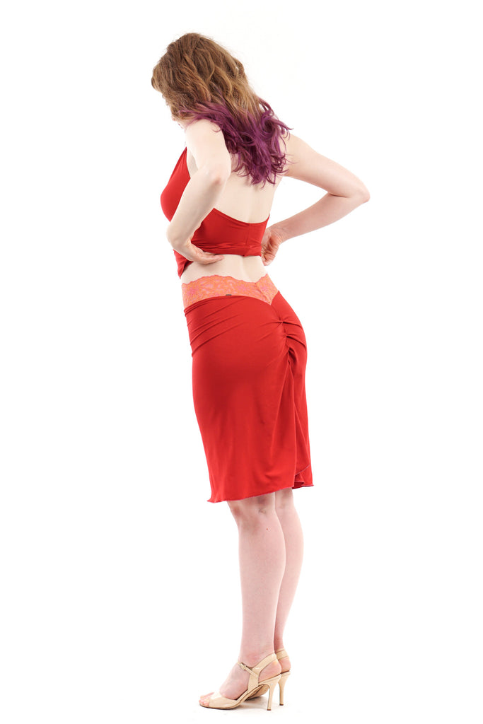 strawberry bamboo ruched skirt