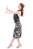 peace flower ruched skirt