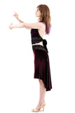 the signature skirt in aubergine velvet