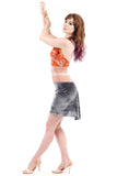 silver & peach short velvet skirt