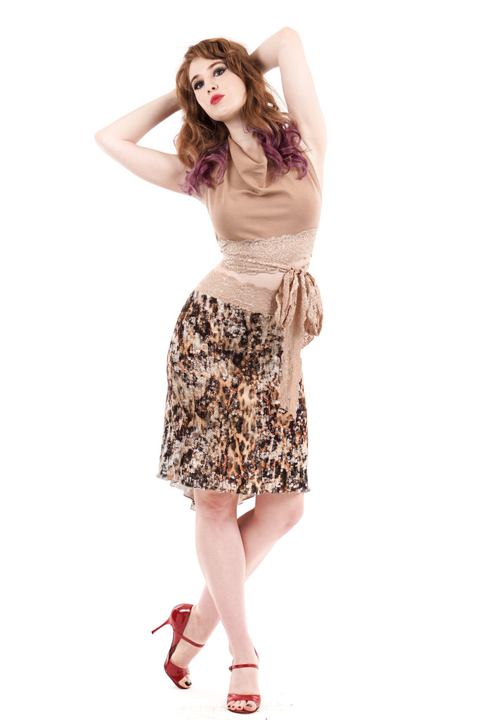 serpent sequin knit skirt