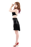 black seal fluted skirt