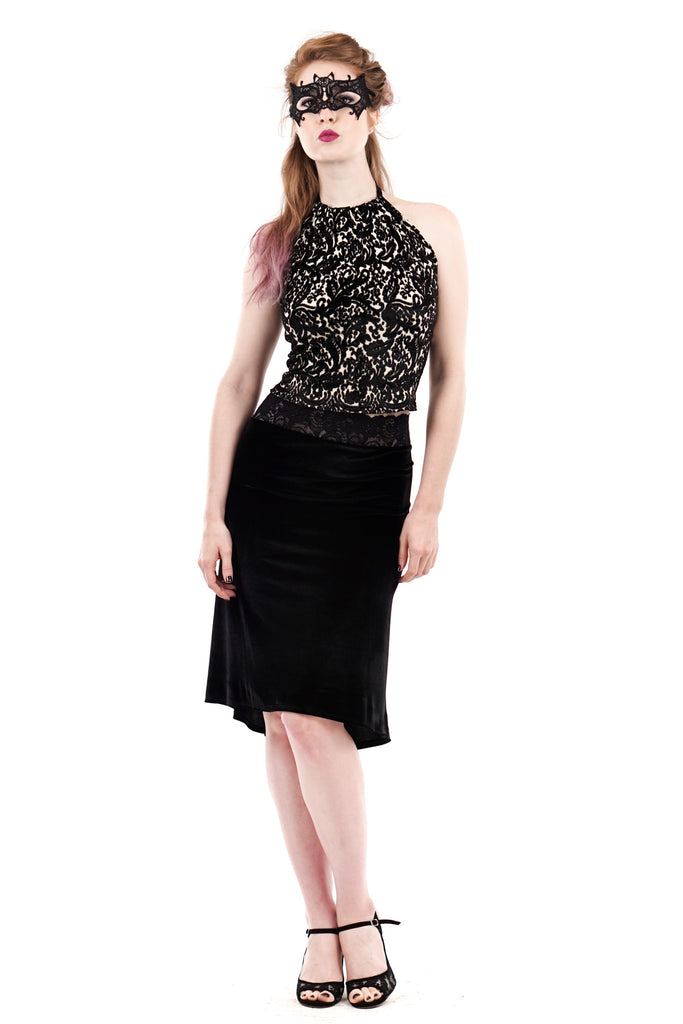 velvet seal fluted skirt