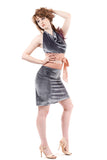 silver & peach velvet ruched skirt