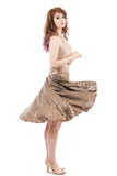 the signature skirt in glitter moss and gold silk