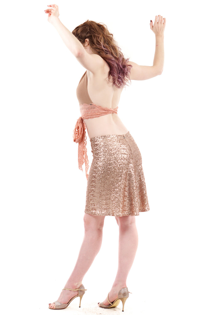 rosé bubbly sequined skirt