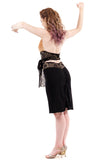 black and goldflower ruched skirt