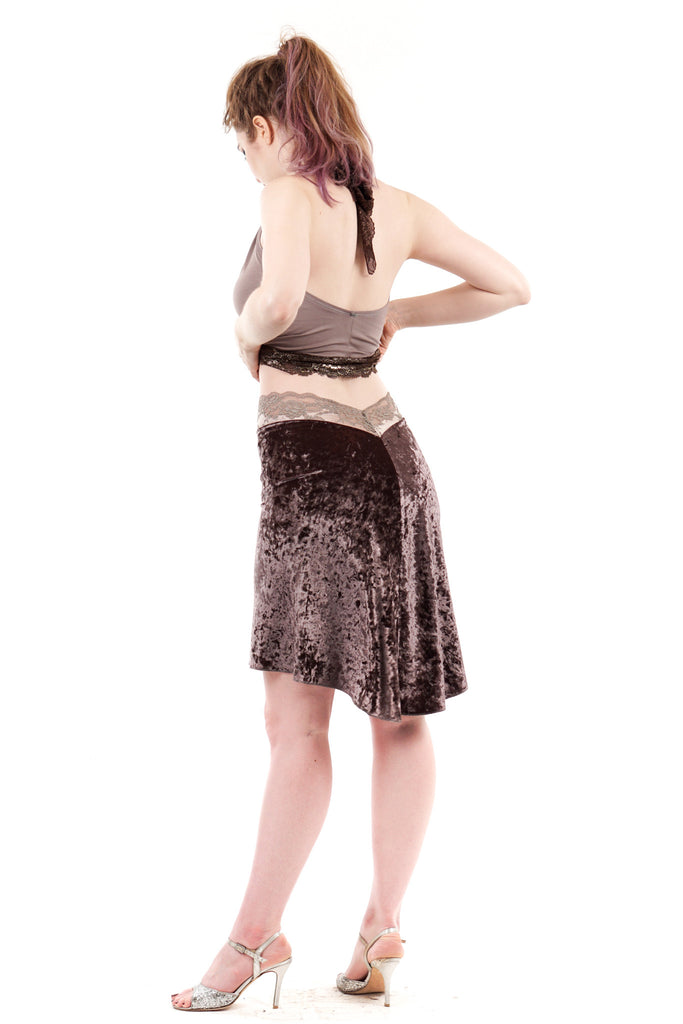 delicate crushed mink velvet skirt
