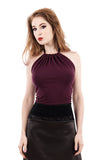 plum moire high-neck halter