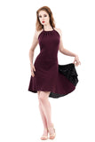 plum moire & black glitter dress