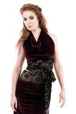 wine and goldflower velvet wrap halter