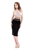 ruched & banded high waist skirt