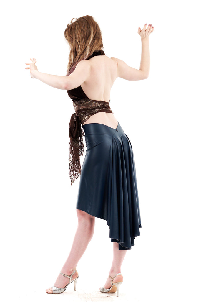 the signature skirt in lagoon leatherette