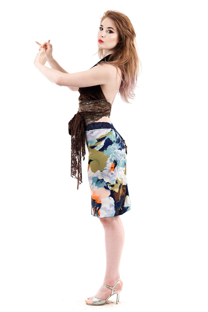 painter's floral ruched skirt