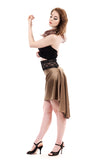the signature skirt in wheat gold silk