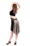 the signature skirt in olive velvet and sequins