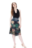 The signature skirt in green lake peony - Poema Tango Clothes: handmade luxury clothing for Argentine tango