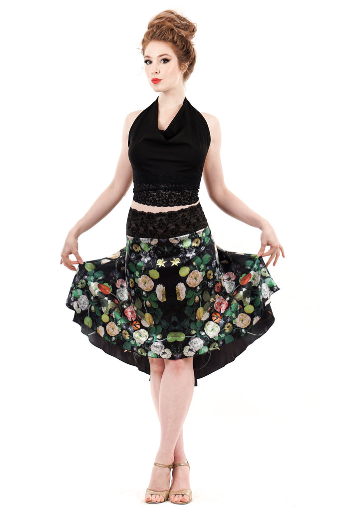 The signature skirt in illustrated flowers - Poema Tango Clothes: handmade luxury clothing for Argentine tango
