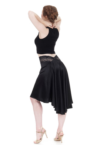 The signature skirt in inky satin silk