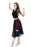 abstract and plum silk circle skirt - Poema Tango Clothes: handmade luxury clothing for Argentine tango