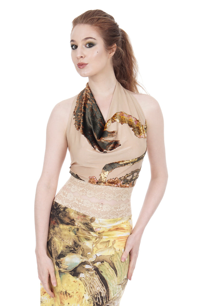 abstract flocking signature halter - Poema Tango Clothes: handmade luxury clothing for Argentine tango
