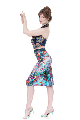 abstract paint ruched skirt