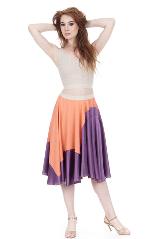 amethyst-dipped hot coral silk skirt