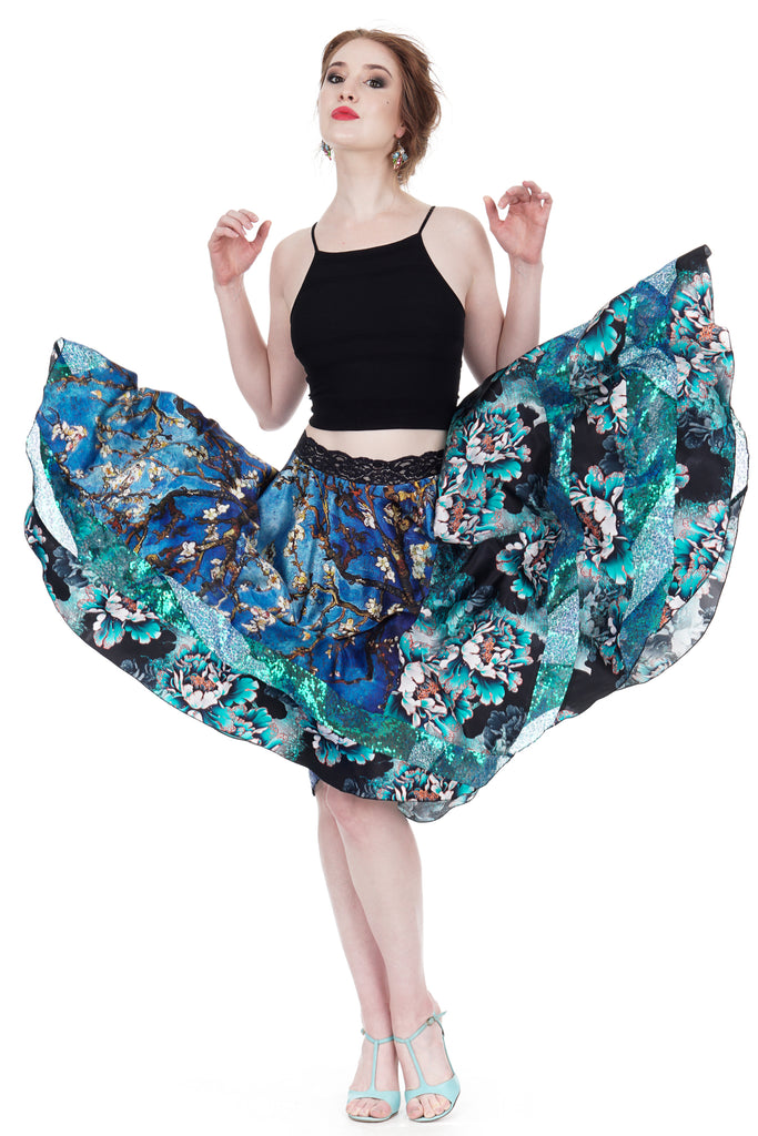anemone tinsel silk & sequin skirt - Poema Tango Clothes: handmade luxury clothing for Argentine tango