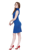 apres tango cobalt high-neck dress - Poema Tango Clothes: handmade luxury clothing for Argentine tango