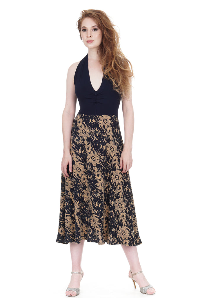 apres tango deco poppies midi dress - Poema Tango Clothes: handmade luxury clothing for Argentine tango