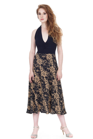 après tango deco poppies midi dress