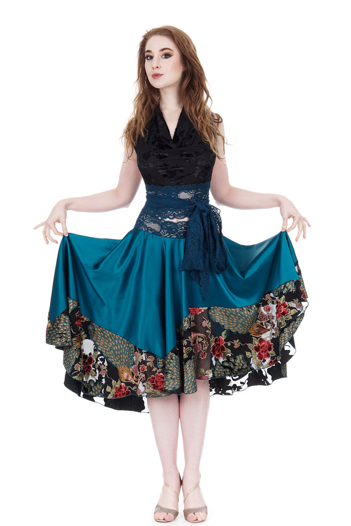 aquamarine and peacock burnout circle skirt - Poema Tango Clothes: handmade luxury clothing for Argentine tango