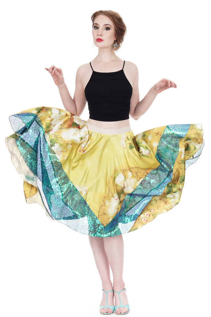 aster yellow silk & sequin skirt - Poema Tango Clothes: handmade luxury clothing for Argentine tango