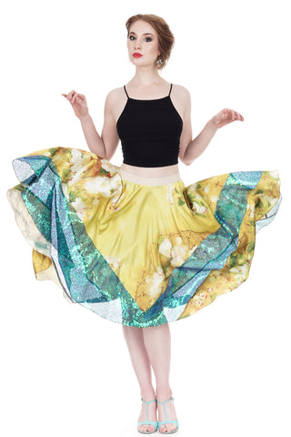 aster yellow silk & sequin skirt