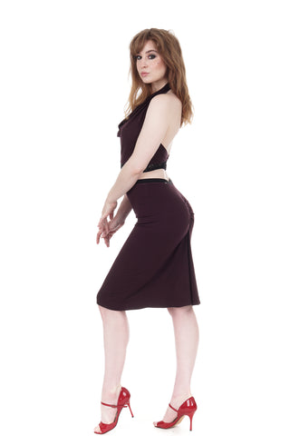 aubergine ruched skirt