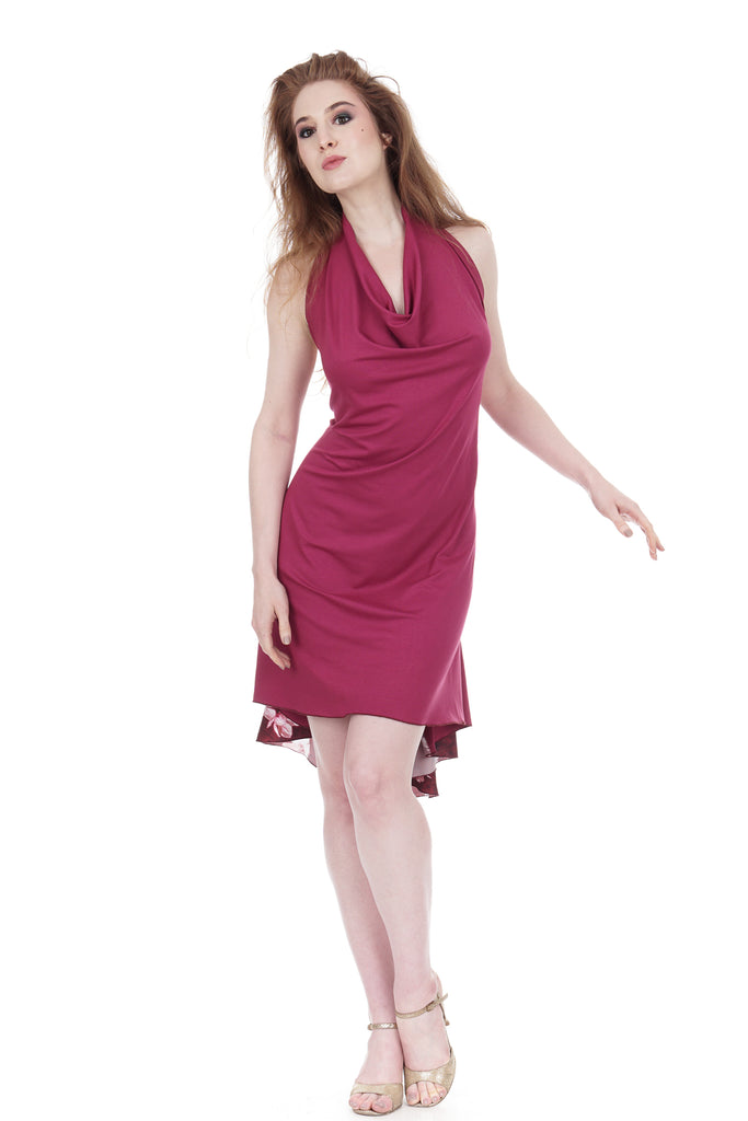 azalea draped dress - Poema Tango Clothes: handmade luxury clothing for Argentine tango