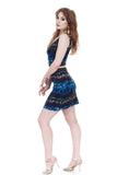 azure featherdye short skirt - Poema Tango Clothes: handmade luxury clothing for Argentine tango