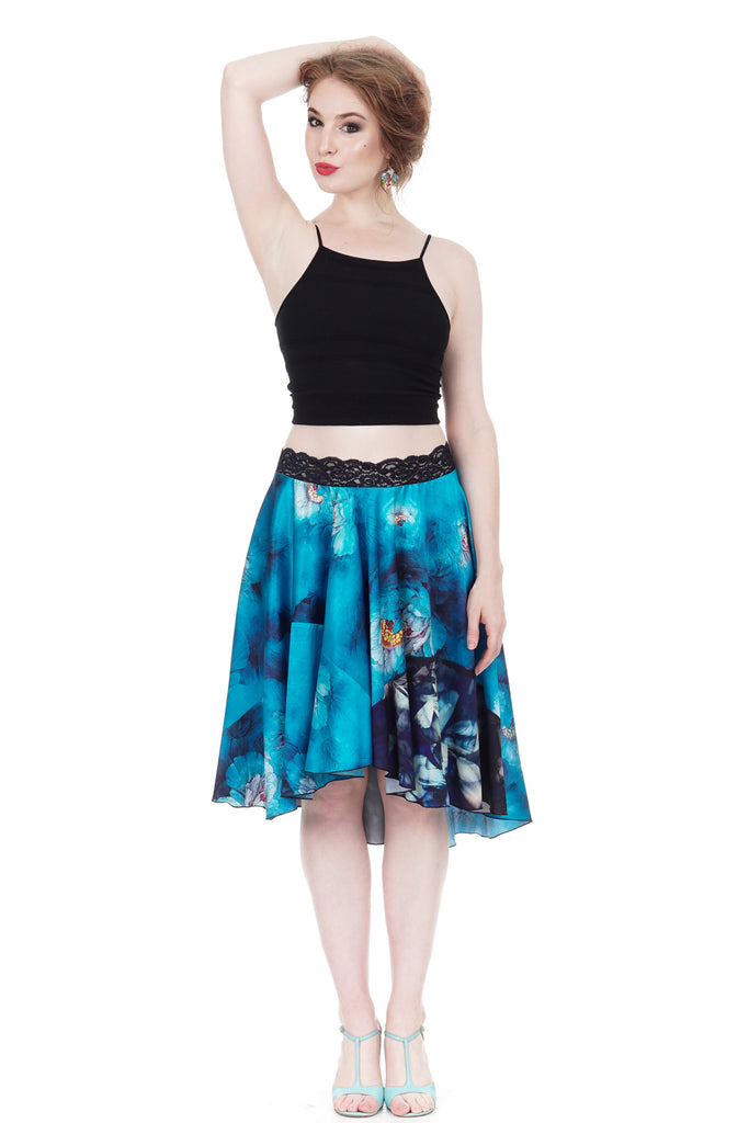 azure petals swingy silk skirt - Poema Tango Clothes: handmade luxury clothing for Argentine tango