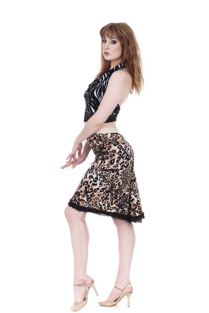big cat ruched & ruffled skirt - Poema Tango Clothes: handmade luxury clothing for Argentine tango